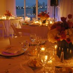 Wedding Tables in the Evening with Candle Lighting