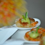 Sauteed Ginger, Lime and Cilantro Shrimp with Avocado Puree