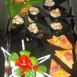 Tuna tartar on wonton, Red snapper ceviche with plantain chip, Mini Caprese