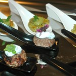 Spicy Lamb Meat Balls with Herbed Yogurt ad Basil Flower