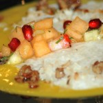 Coconut tapioca with mango soup, Fresh fruit and mint salad and caramelized pecans