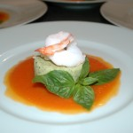 Asparagus Flan in Roasted Red Pepper Coulis and Sauteed Shrimp