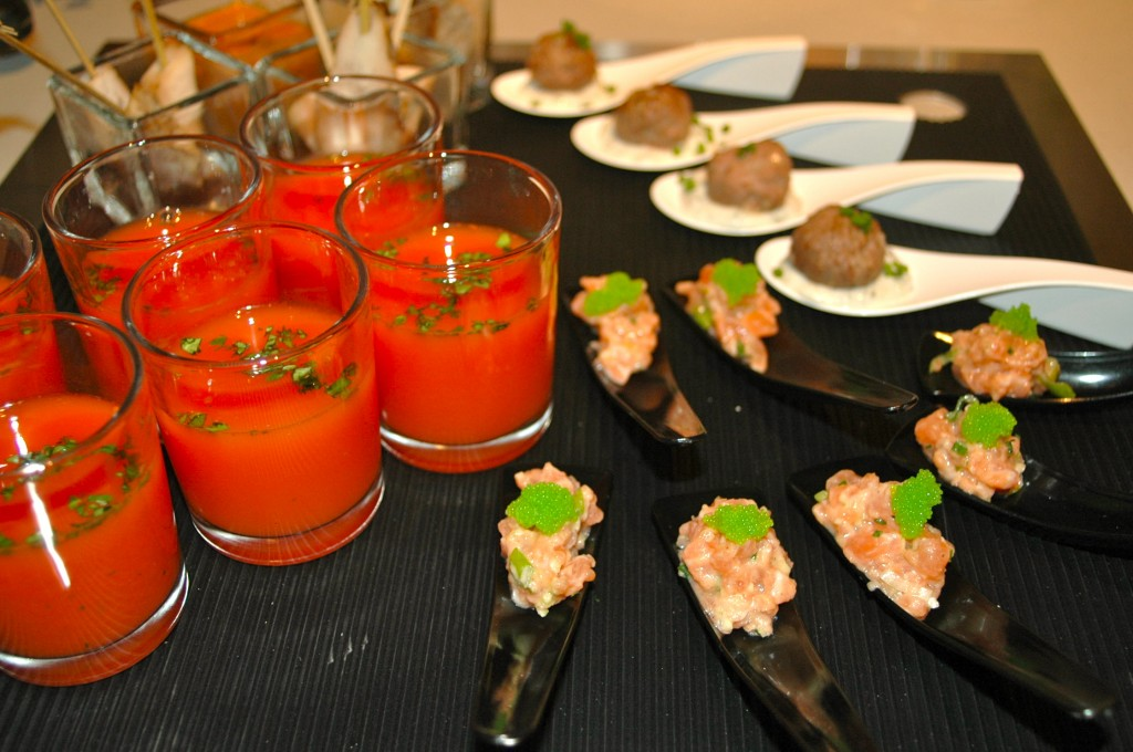 Cold watermelon shot, Lamb meat balls, Salmon tartar with wasabi eggs
