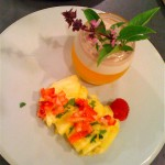 Passion Fruit Gelee with Sweet Basil Cream