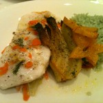 Hlibut, fennel and carrot papillote with roasted fennel, bamboo rice and sauteed star fruit