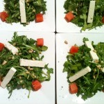 Arugula salad with watermelon and feta cheese, dressing with a white balsamic vinaigrette