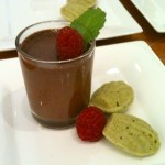 Mint chocolate mousse with matcha ginger madeleines