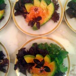 Florida Avocado, Fresh Pomelo over Purple and Green Lettuce, White Balsamic Vinaigrette