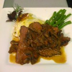 Sliced Beef Tenderloin, Mushroom Ragou, Potato au Gratin and Sauteed Green Beans